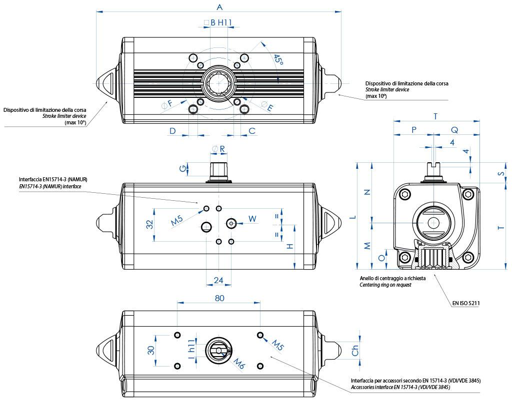 Attuatore pneumatico doppio effetto GD in alluminio - dimensioni - Attuatore doppio effetto misure dal GD15 (Nm) al GD1920 (Nm)