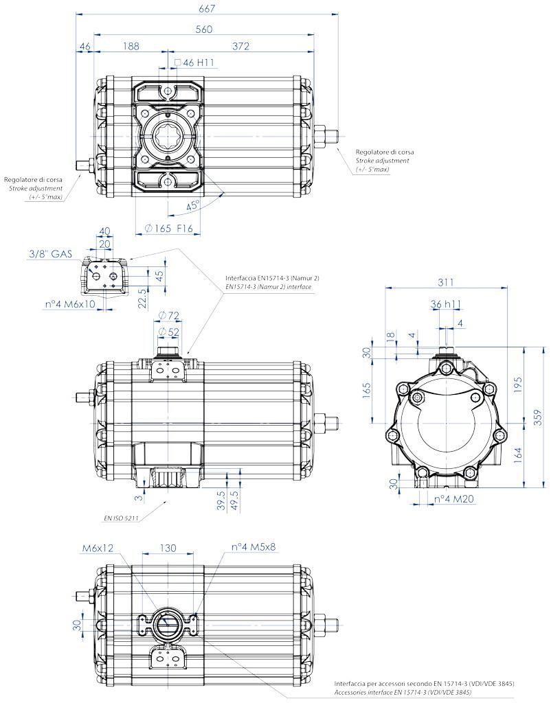 Attuatore pneumatico doppio effetto GD in alluminio - dimensioni - Attuatore pneumatico doppio effetto misura GD2880 (Nm)