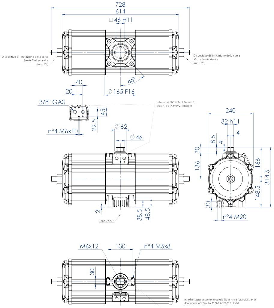 Attuatore pneumatico doppio effetto GD in alluminio - dimensioni - Attuatore pneumatico doppio effetto misura GD3840 (Nm)
