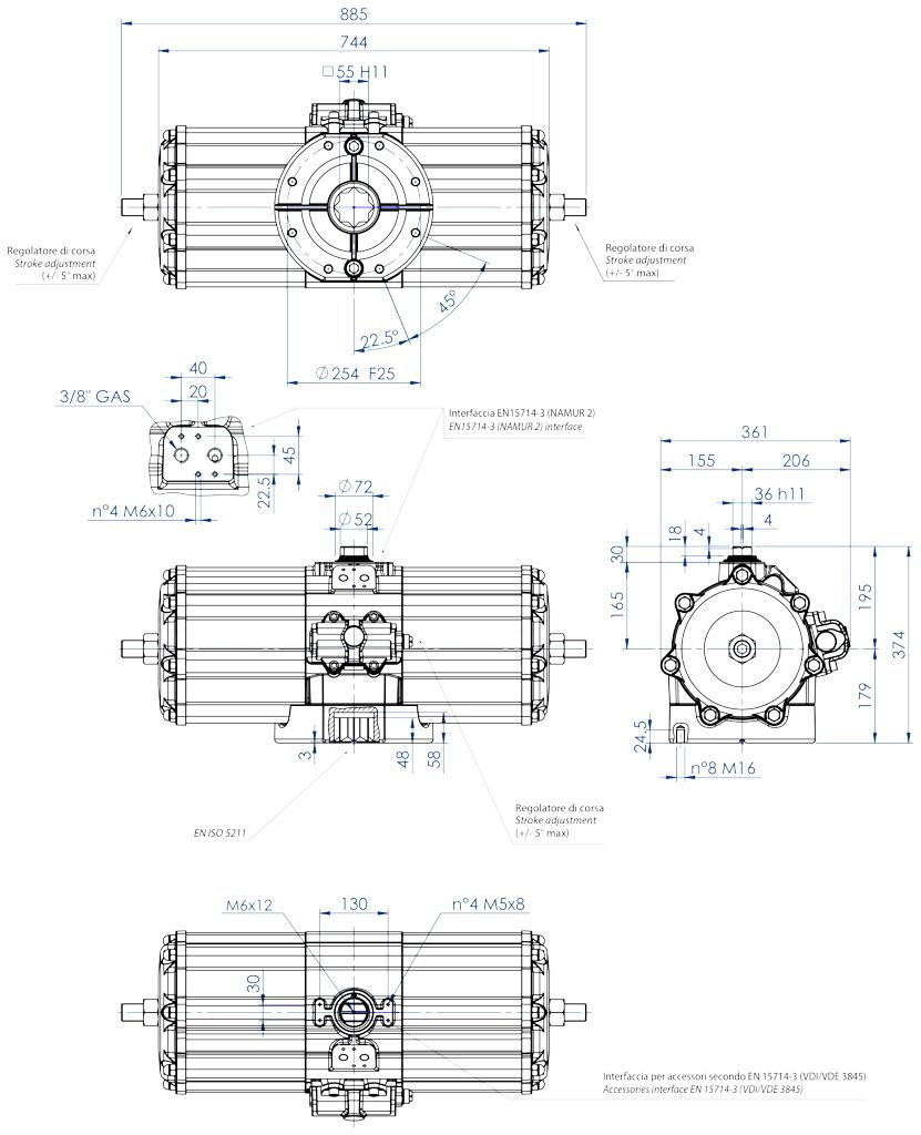 Attuatore pneumatico doppio effetto GD in alluminio - dimensioni - Attuatore pneumatico doppio effetto misura GD5760 (Nm)