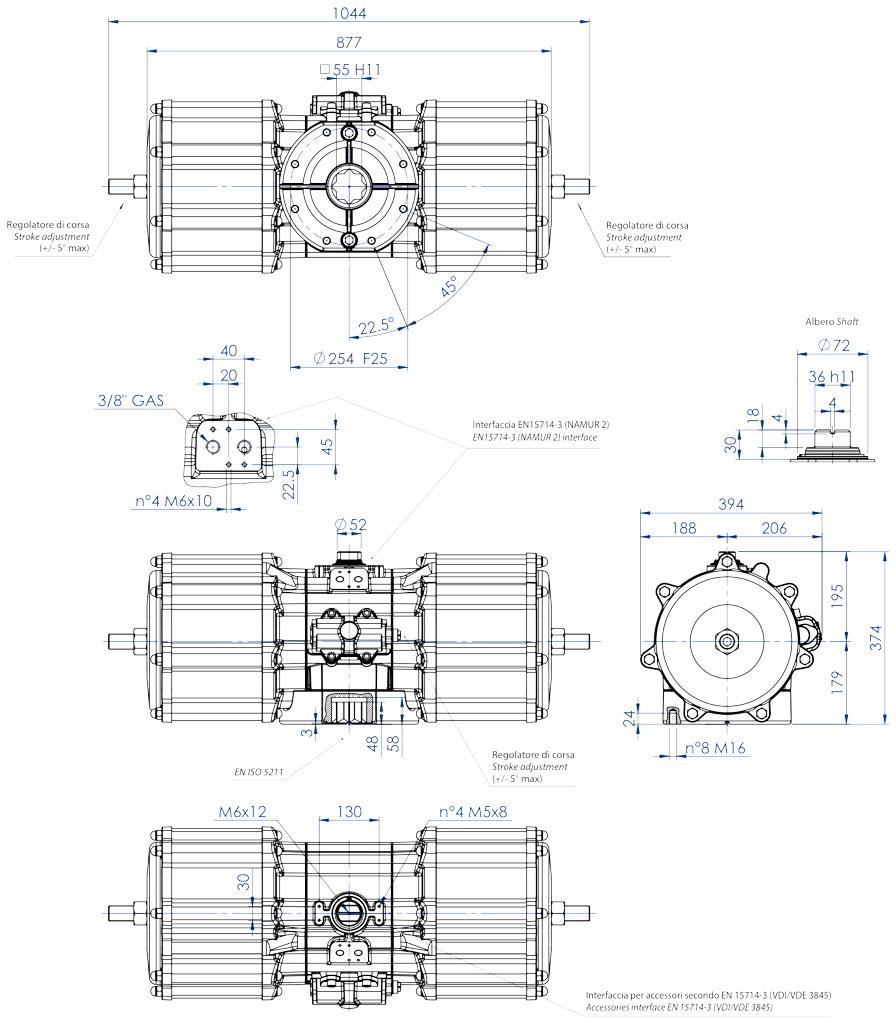 Attuatore pneumatico doppio effetto GD in alluminio - dimensioni - Attuatore pneumatico doppio effetto misura GD8000 (Nm)
