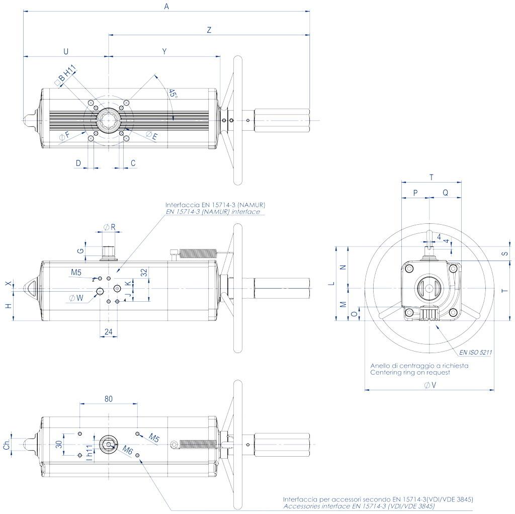 Attuatore pneumatico doppio effetto GDV con comando manuale integrato - dimensioni - GDV60 ÷ GDV1920