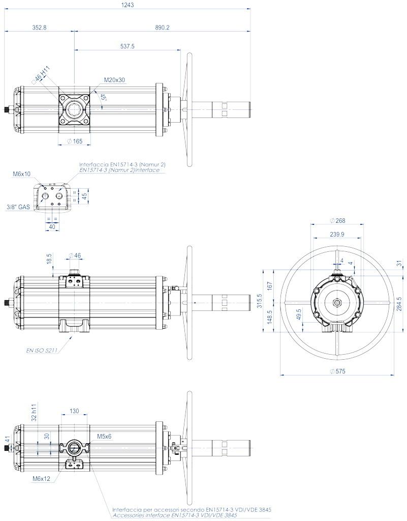 Attuatore pneumatico doppio effetto GDV con comando manuale integrato - dimensioni - GDV3840