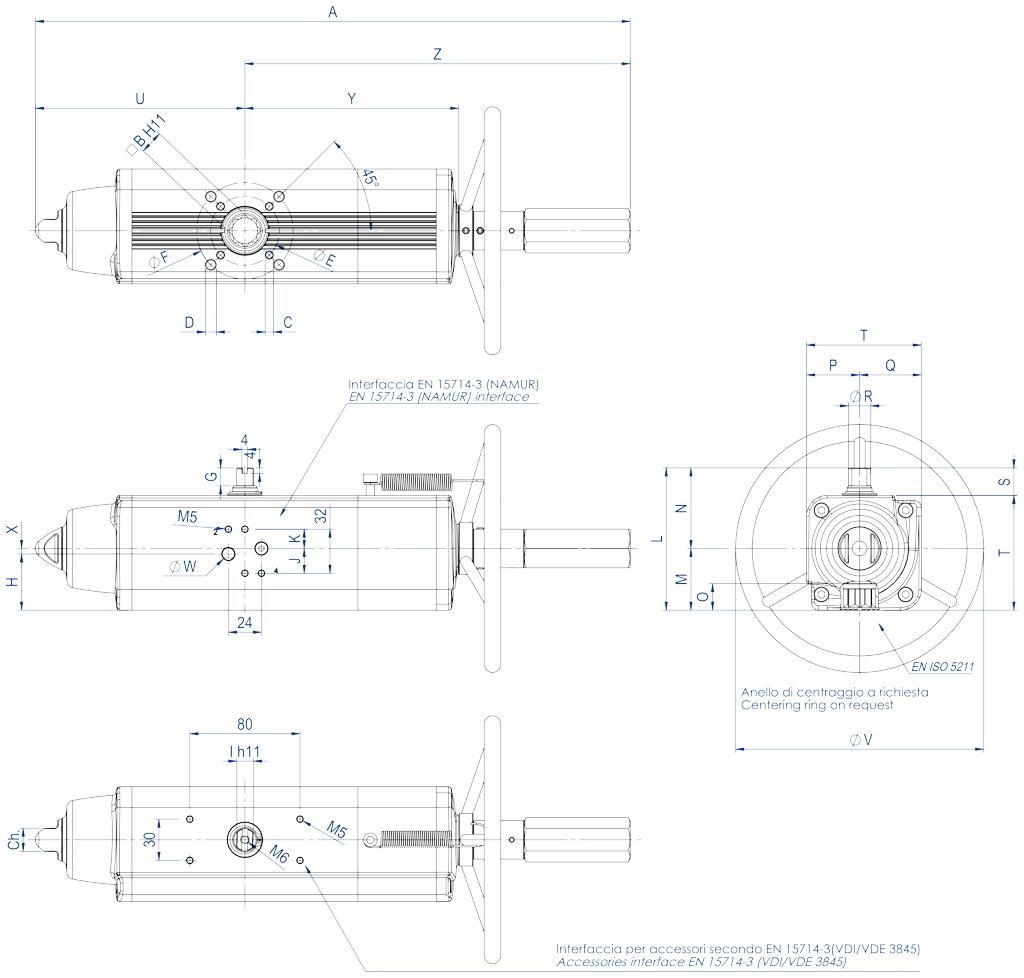 Attuatore pneumatico semplice effetto GSV con comando manuale integrato - dimensioni - GSV30 ÷ GSV960