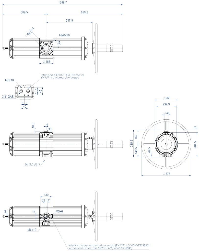 Attuatore pneumatico semplice effetto GSV con comando manuale integrato - dimensioni - GSV1920