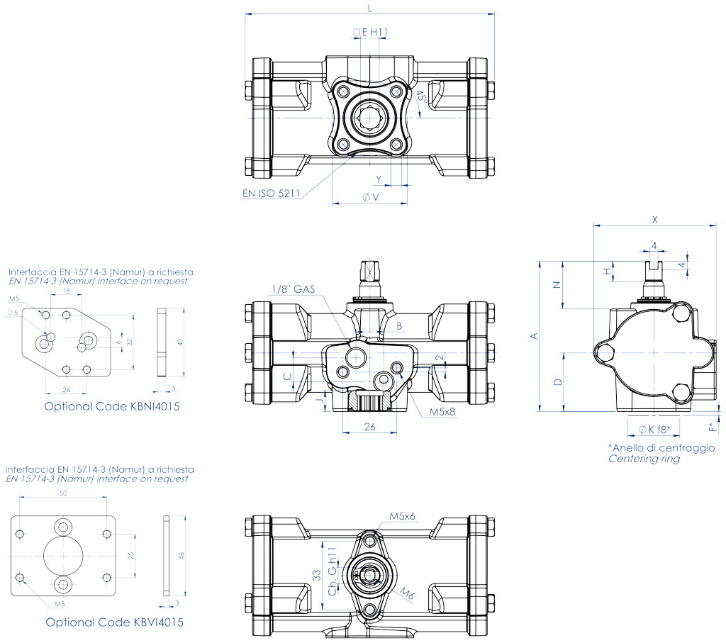 Attuatore pneumatico doppio effetto GD inox CF8M microfuso - dimensioni - GD15 ÷ GD30