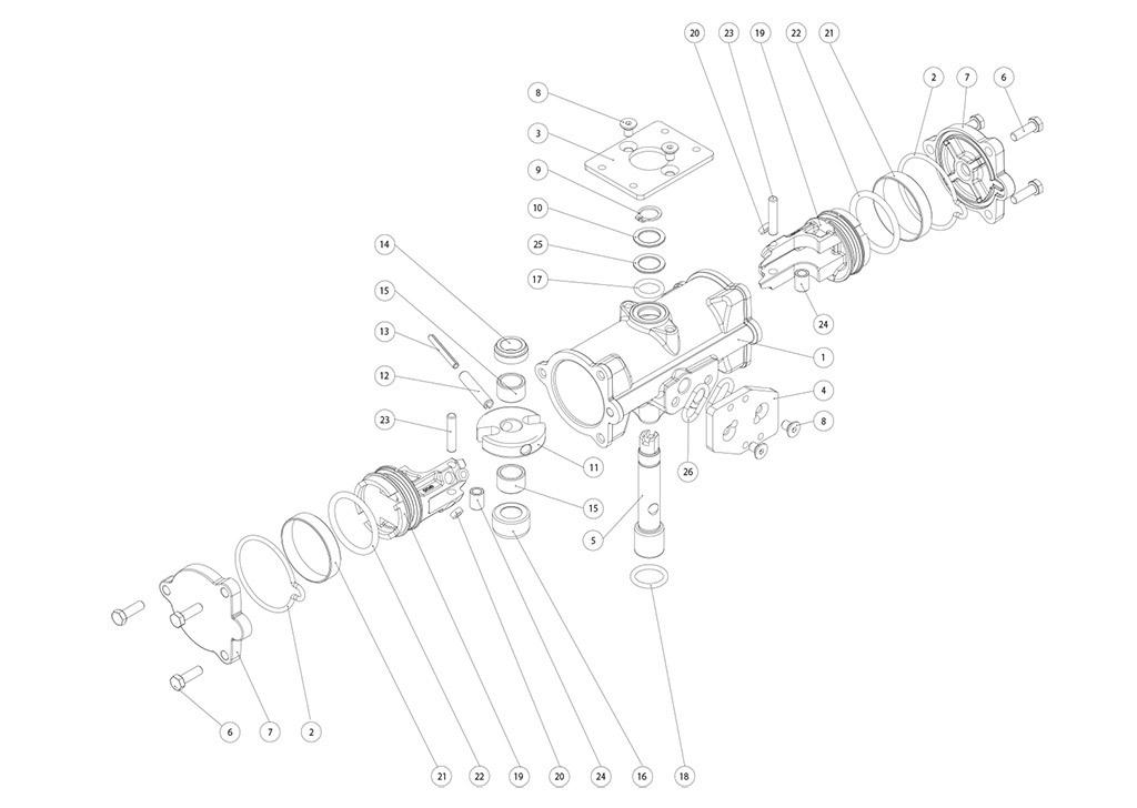 Attuatore pneumatico doppio effetto GD inox CF8M microfuso - materiali - COMPONENTI DOPPIO EFFETTO