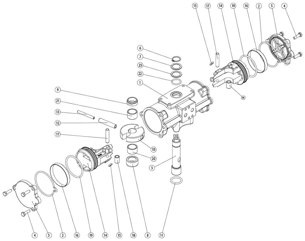 Attuatore pneumatico doppio effetto GD inox CF8M microfuso - materiali - COMPONENTI ATTUATORE PNEUMATICO DOPPIO EFFETTO