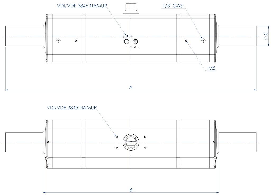 GDD Attuatore pneumatico dosatore in alluminio - dimensioni -