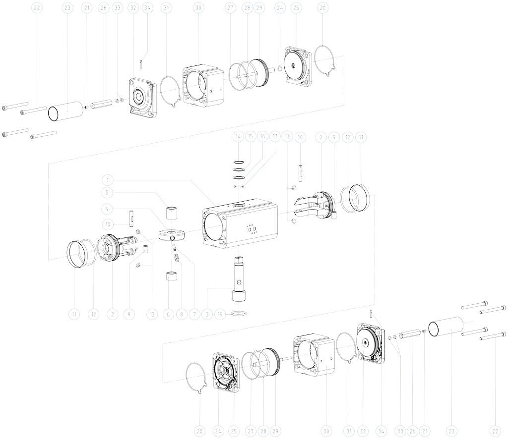 GDD Attuatore pneumatico dosatore in alluminio - materiali - COMPONENTI ATTUATORE PNEUMATICO DOSATORE MISURE: GDD30 - GDD480