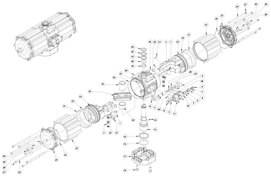 Attuatore pneumatico doppio effetto GD in alluminio - materiali - COMPONENTI ATTUATORE PNEUMATICO DOPPIO EFFETTO MISURA: GD5760