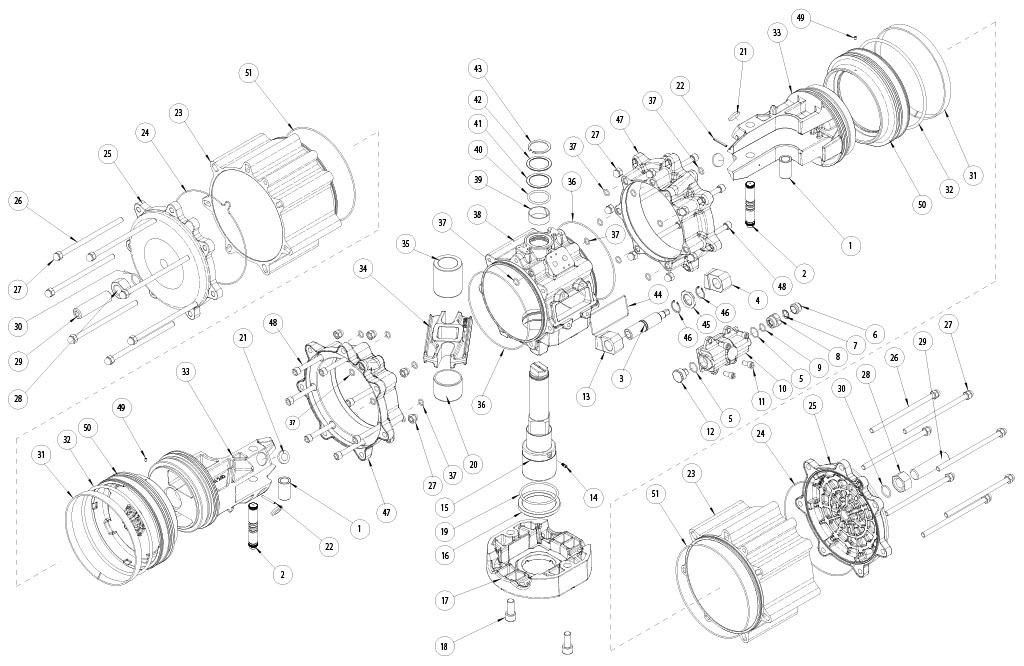 Attuatore pneumatico doppio effetto GD in alluminio - materiali - COMPONENTI ATTUATORE PNEUMATICO DOPPIO EFFETTO MISURA: GD8000