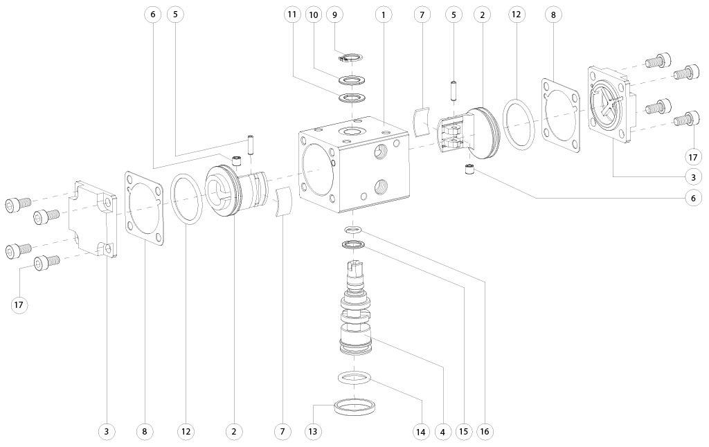 Attuatore pneumatico doppio effetto GD in alluminio - materiali - COMPONENTI ATTUATORE PNEUMATICO DOPPIO EFFETTO MISURA: GD8