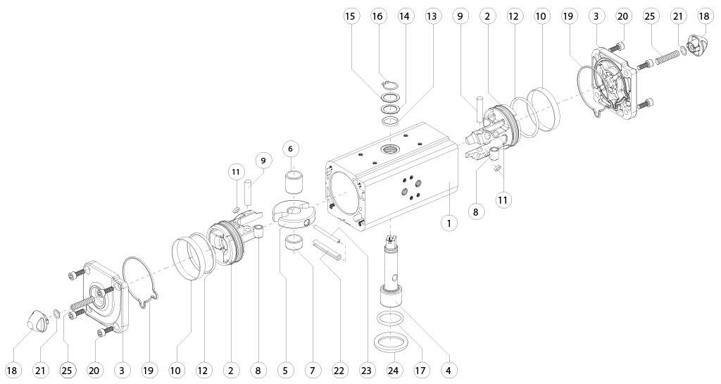Attuatore pneumatico doppio effetto GD in alluminio - materiali - COMPONENTI ATTUATORE PNEUMATICO DOPPIO EFFETTO MISURA: GD15-GD1920