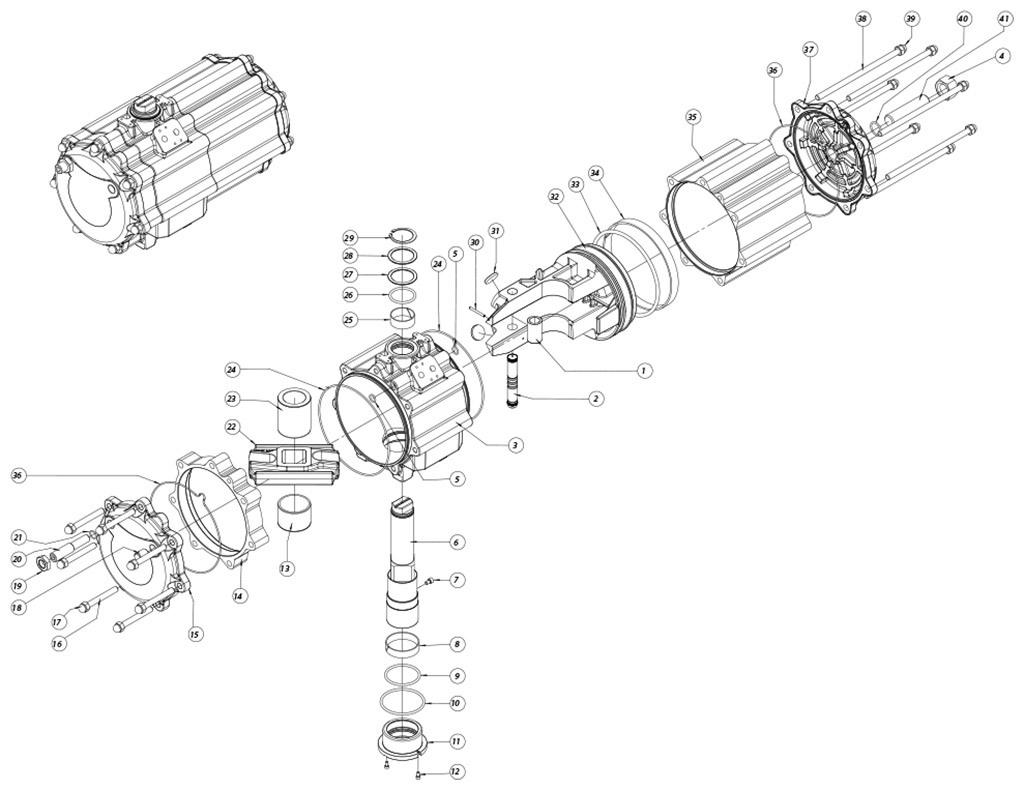 Attuatore pneumatico doppio effetto GD in alluminio - materiali - COMPONENTI ATTUATORE PNEUMATICO DOPPIO EFFETTO MISURA: GD2880