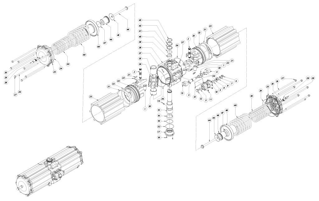 Attuatore pneumatico semplice effetto GS in alluminio - materiali - COMPONENTI ATTUATORE PNEUMATICO SEMPLICE EFFETTO MISURA: GS2880