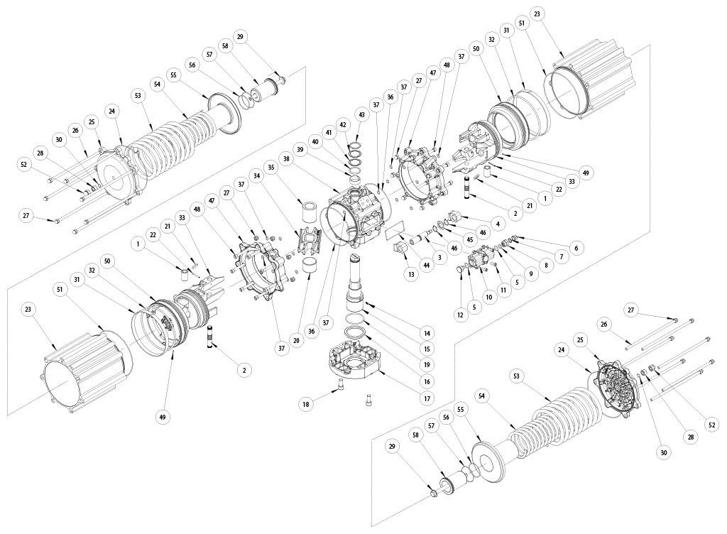 Attuatore pneumatico semplice effetto GS in alluminio - materiali - COMPONENTI ATTUATORE PNEUMATICO SEMPLICE EFFETTO MISURA: GS4000