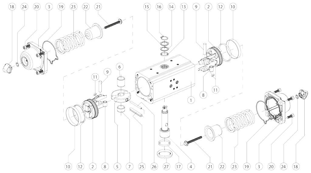 Attuatore pneumatico semplice effetto GS in alluminio - materiali - COMPONENTI ATTUATORE PNEUMATICO SEMPLICE EFFETTO MISURA: GS15-GS960