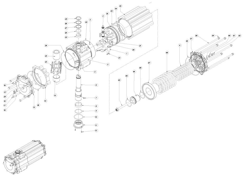 Attuatore pneumatico semplice effetto GS in alluminio - materiali - COMPONENTI ATTUATORE PNEUMATICO SEMPILICE EFFETTO MISURA: GS1440
