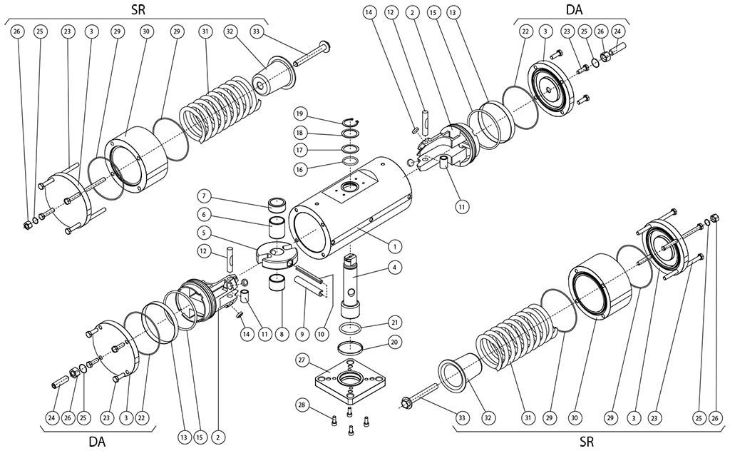 Attuatore pneumatico doppio effetto GD acciaio al carbonio A105 - materiali - COMPONENTI ATTUATORE PNEUMATICO DOPPIO E SEMPLICE EFFETTO A105 DA BARRA