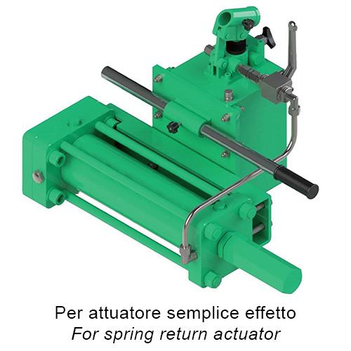 Attuatore pneumatico semplice effetto GS Heavy Duty acciaio carbonio - accessori - COMANDO IDRAULICO MANUALE D'EMERGENZA