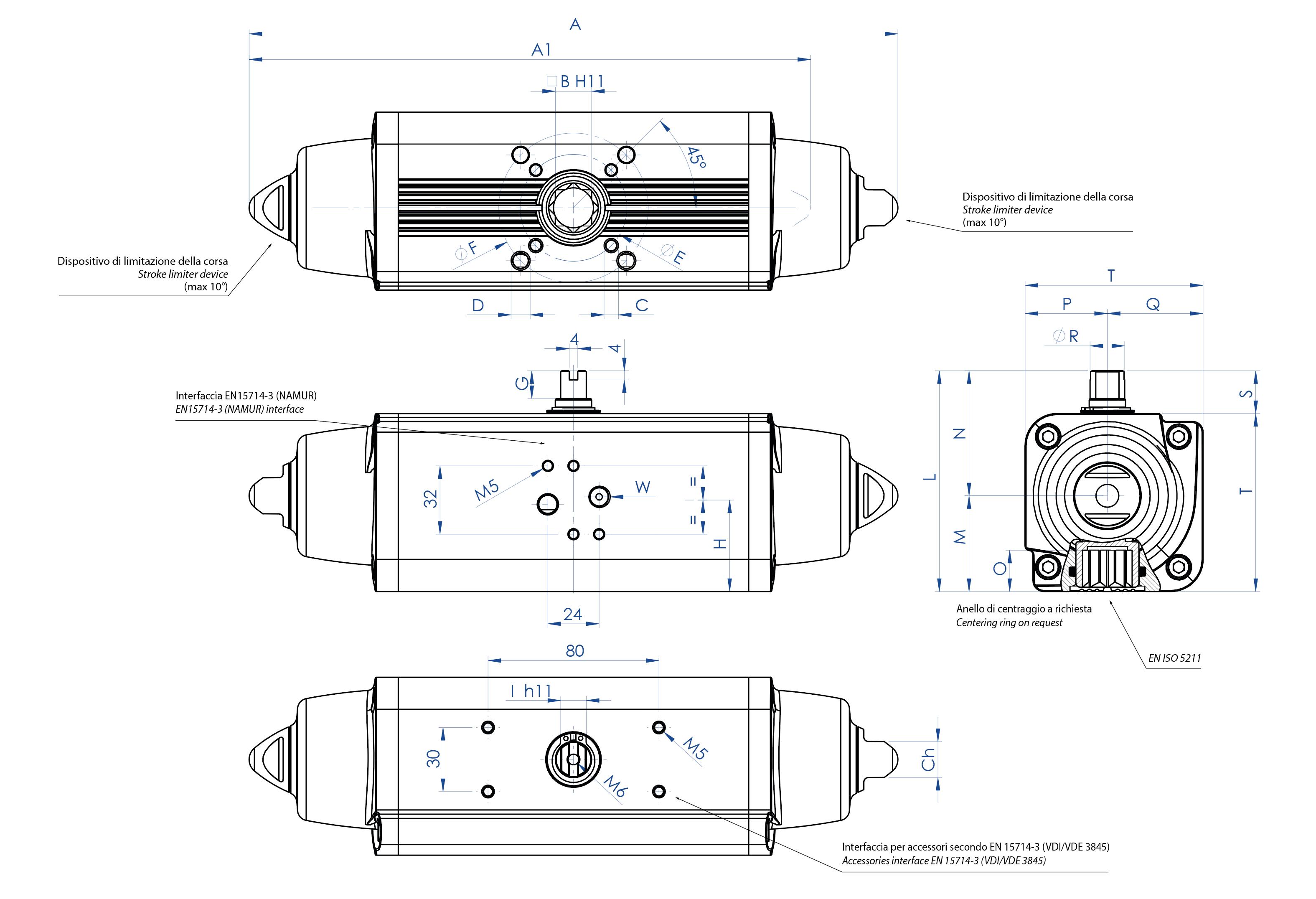 Attuatore pneumatico semplice effetto GS in alluminio - dimensioni - Attuatore pneumatico semplice effetto misure dal GS15 (Nm) al GS960 (Nm)
