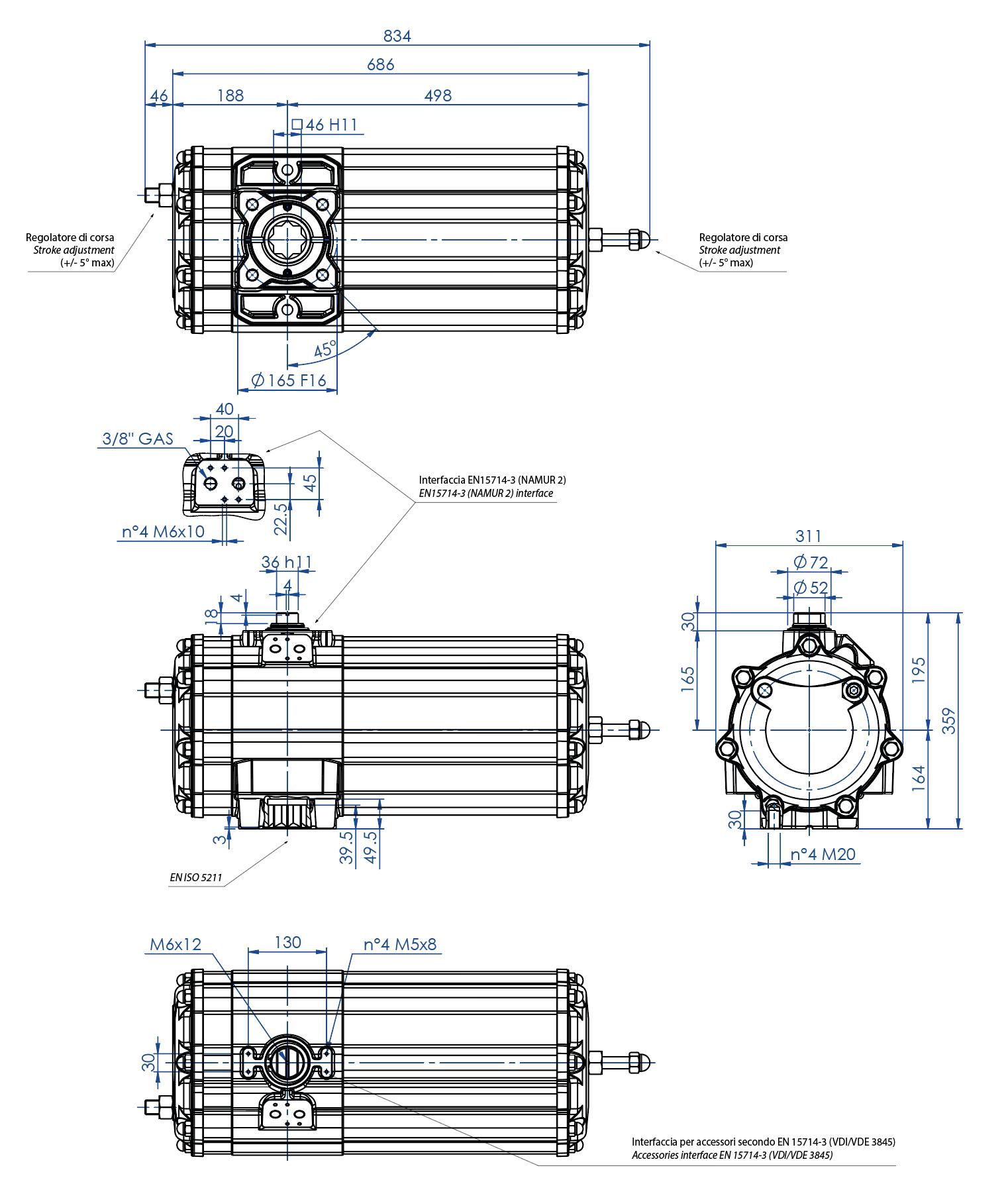 Attuatore pneumatico semplice effetto GS in alluminio - dimensioni - Attuatore pneumatico semplice effetto misura GS1440 (Nm)