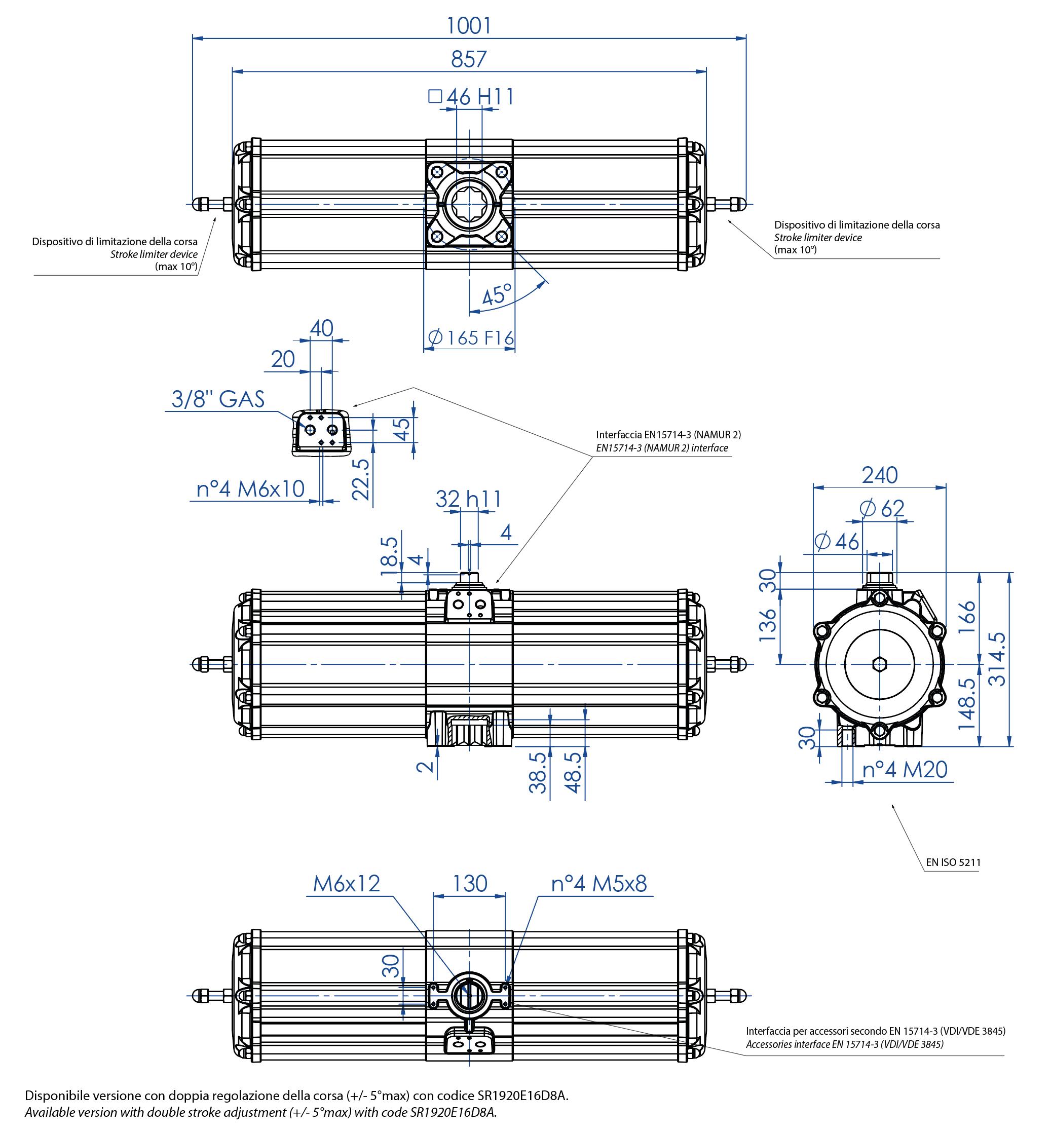 Attuatore pneumatico semplice effetto GS in alluminio - dimensioni - Attuatore pneumatico semplice effetto misura GS1920 (Nm)