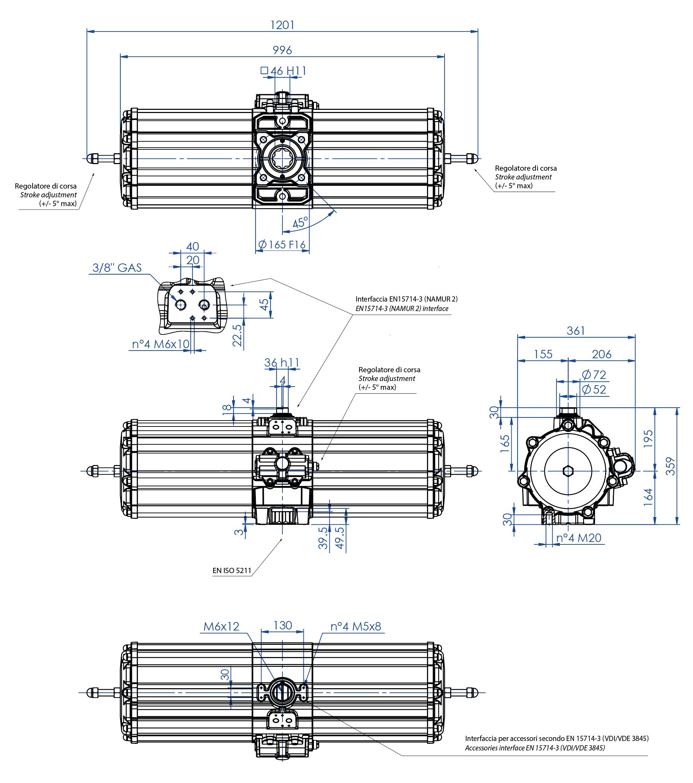 Attuatore pneumatico semplice effetto GS in alluminio - dimensioni - Attuatore pneumatico semplice effetto misura GS2880 (Nm)