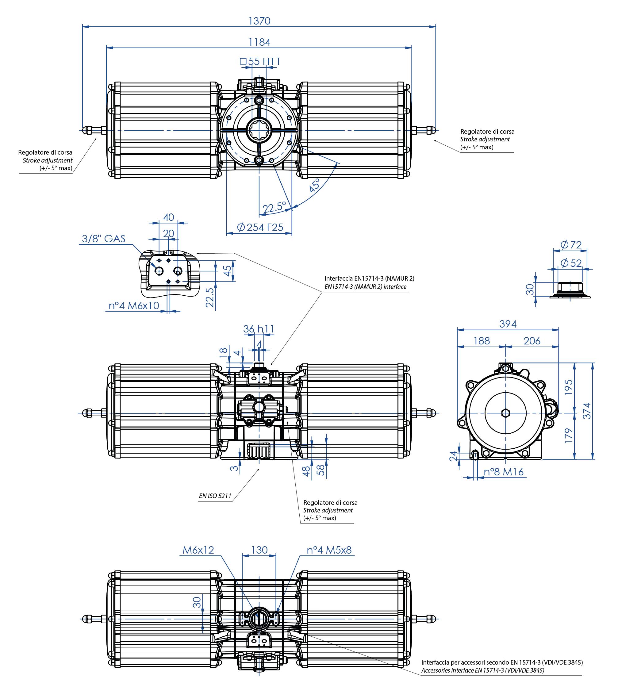 Attuatore pneumatico semplice effetto GS in alluminio - dimensioni - Attuatore pneumatico semplice effetto misura GS4000 (Nm)