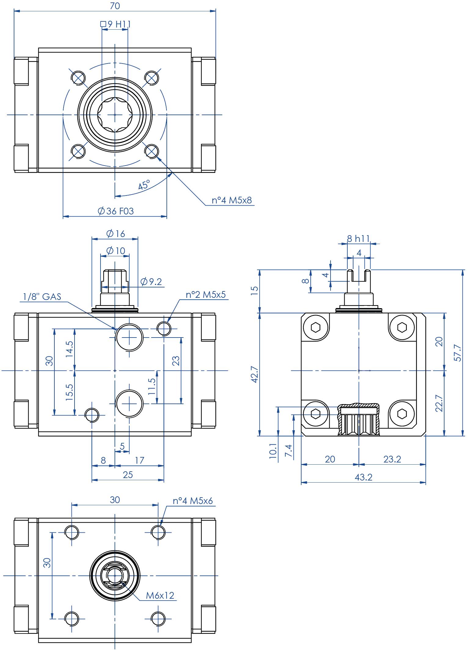 Attuatore pneumatico doppio effetto GD in alluminio - dimensioni - Attuatore doppio effetto misura GD08 (Nm)