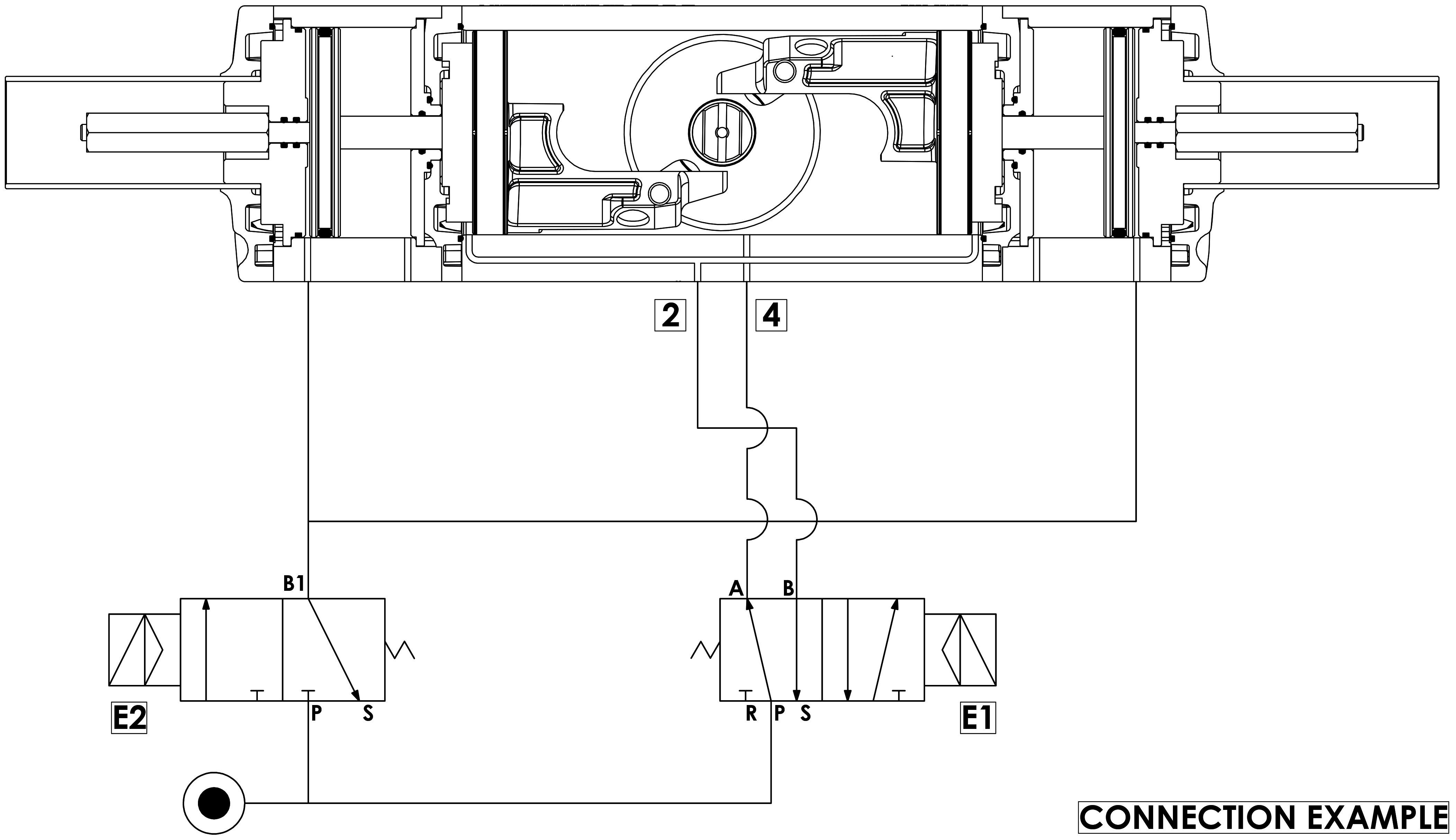 GDD Attuatore pneumatico dosatore in alluminio - specifiche - Schema di funzionamento