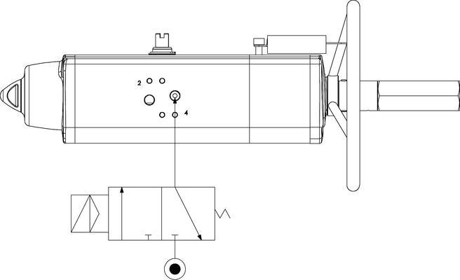 Attuatore pneumatico semplice effetto GSV con comando manuale integrato - specifiche -