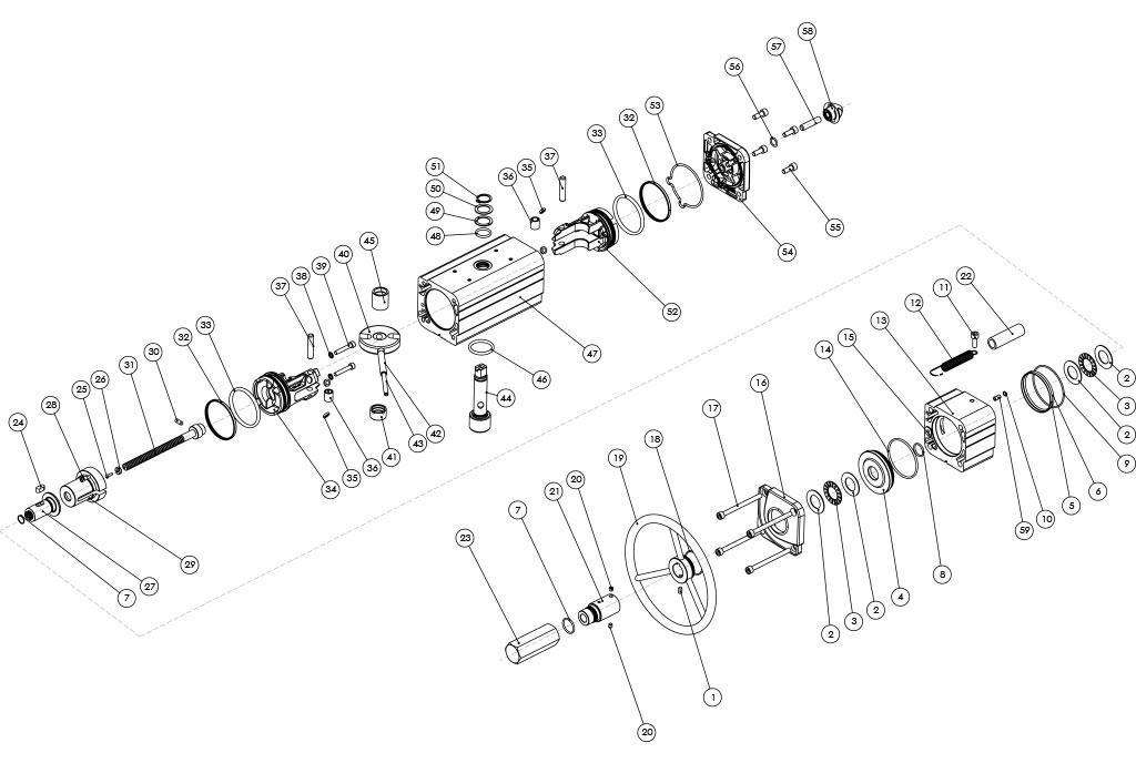 Attuatore pneumatico doppio effetto GDV con comando manuale integrato - materiali - COMPONENTI ATTUATORE PNEUMATICO DOPPIO EFFETTO CON COMANDO MANUALE INTEGRATO - MISURE: FINO A GDV1920