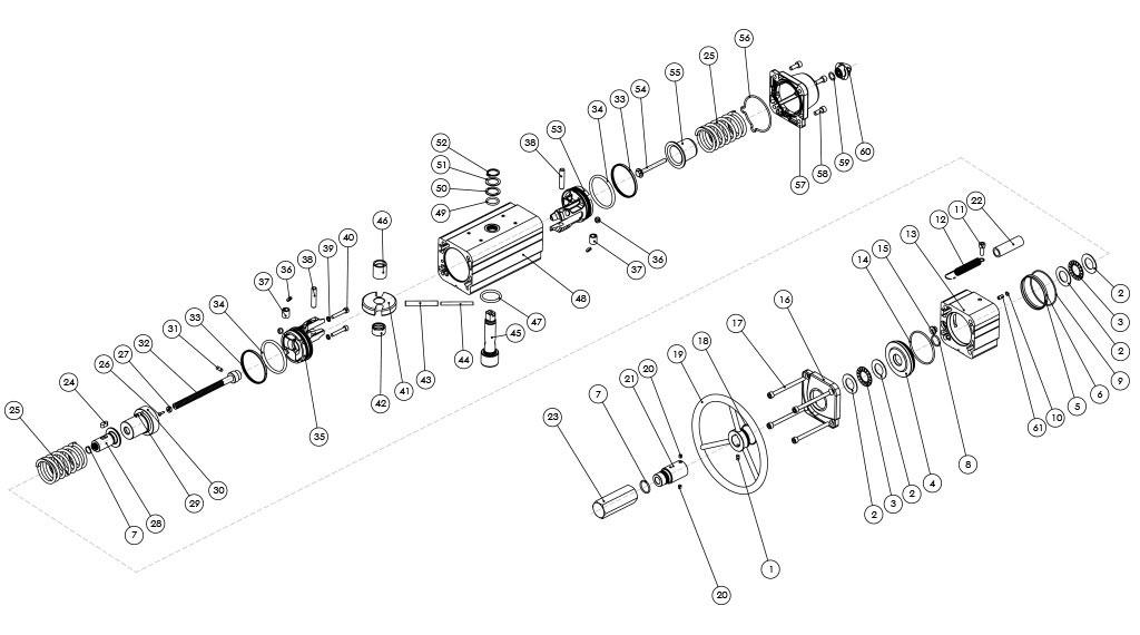 Attuatore pneumatico semplice effetto GSV con comando manuale integrato - materiali - COMPONENTI ATTUATORE PNEUMATICO SEMPLICE EFFETTO CON COMANDO MANUALE INTEGRATO - MISURE: FINO A GSV960