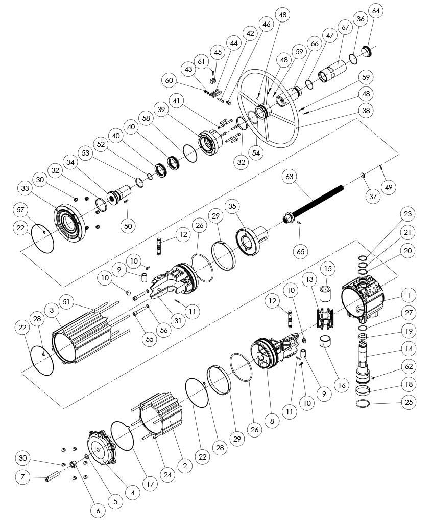 Attuatore pneumatico doppio effetto GDV con comando manuale integrato - materiali - COMPONENTI ATTUATORE PNEUMATICO DOPPIO EFFETTO CON COMANDO MANUALE INTEGRATO - MISURA: GDV3840