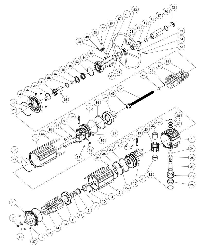 Attuatore pneumatico semplice effetto GSV con comando manuale integrato - materiali - COMPONENTI ATTUATORE PNEUMATICO SEMPLICE EFFETTO CON COMANDO MANUALE INTEGRATO - MISURA: GSV1920