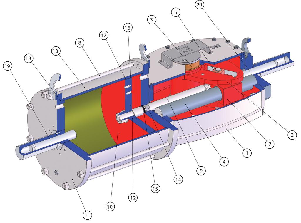Attuatore pneumatico doppio effetto GD Heavy Duty acciaio carbonio - materiali -