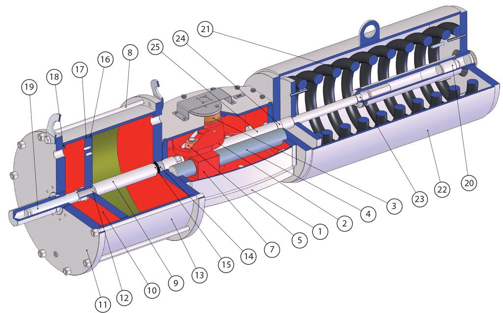 Attuatore pneumatico semplice effetto GS Heavy Duty acciaio carbonio - materiali -