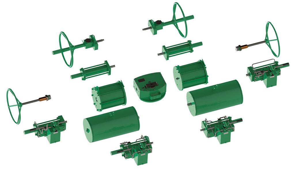 Attuatore pneumatico doppio effetto GD Heavy Duty acciaio carbonio - accessori - Design Costruttivo Modulare