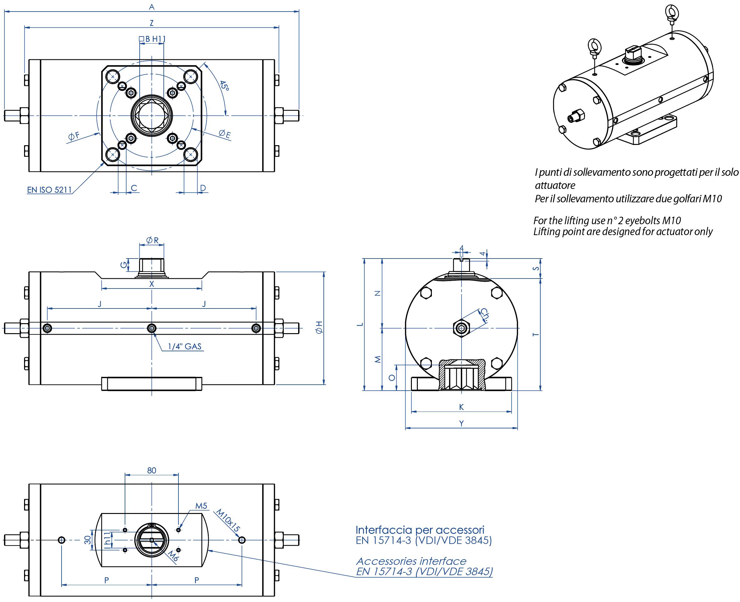 Attuatore pneumatico doppio effetto GD acciaio al carbonio A105 - dimensioni -