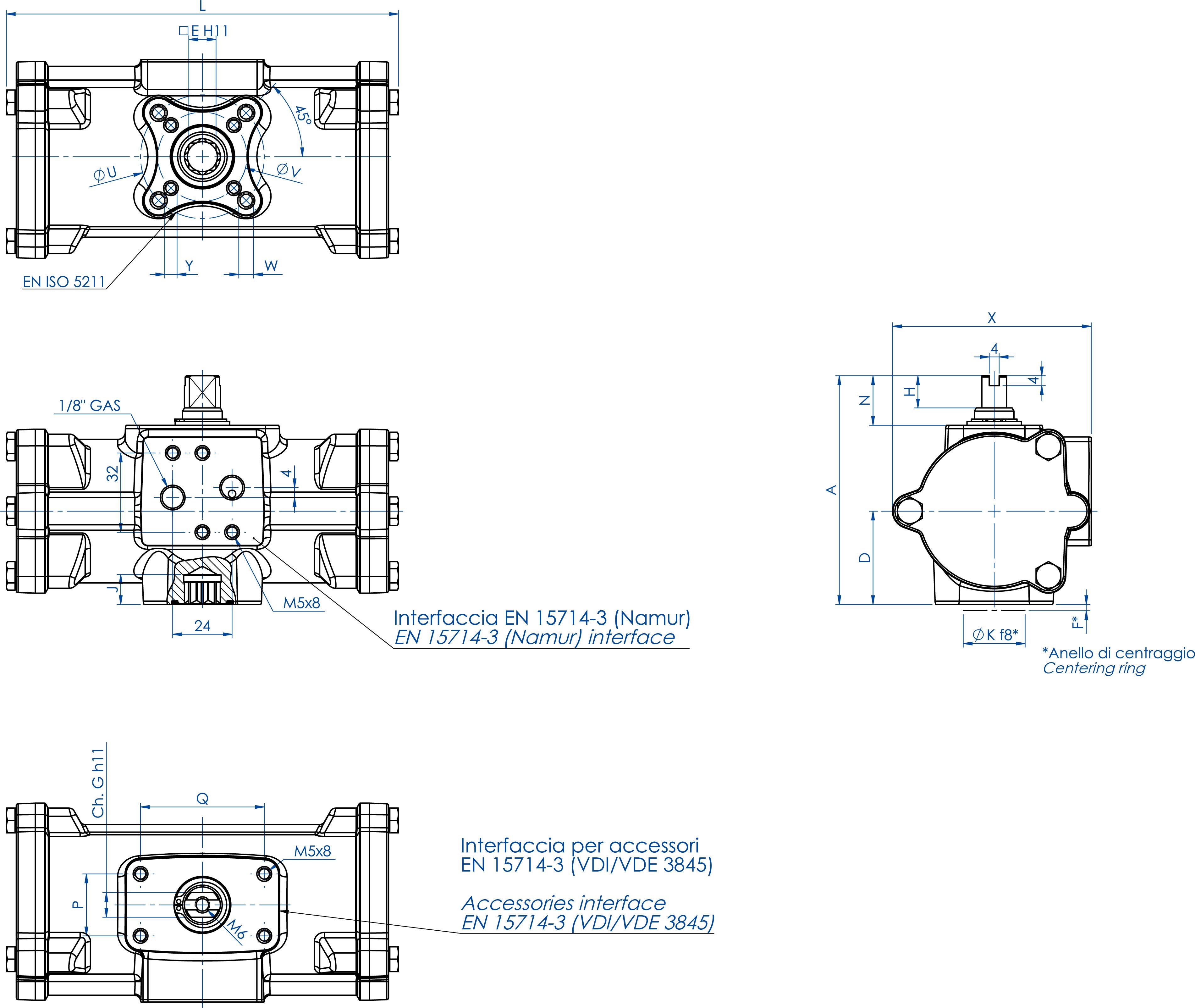 Attuatore pneumatico doppio effetto GD inox CF8M microfuso - dimensioni - GD60 ÷ GD480